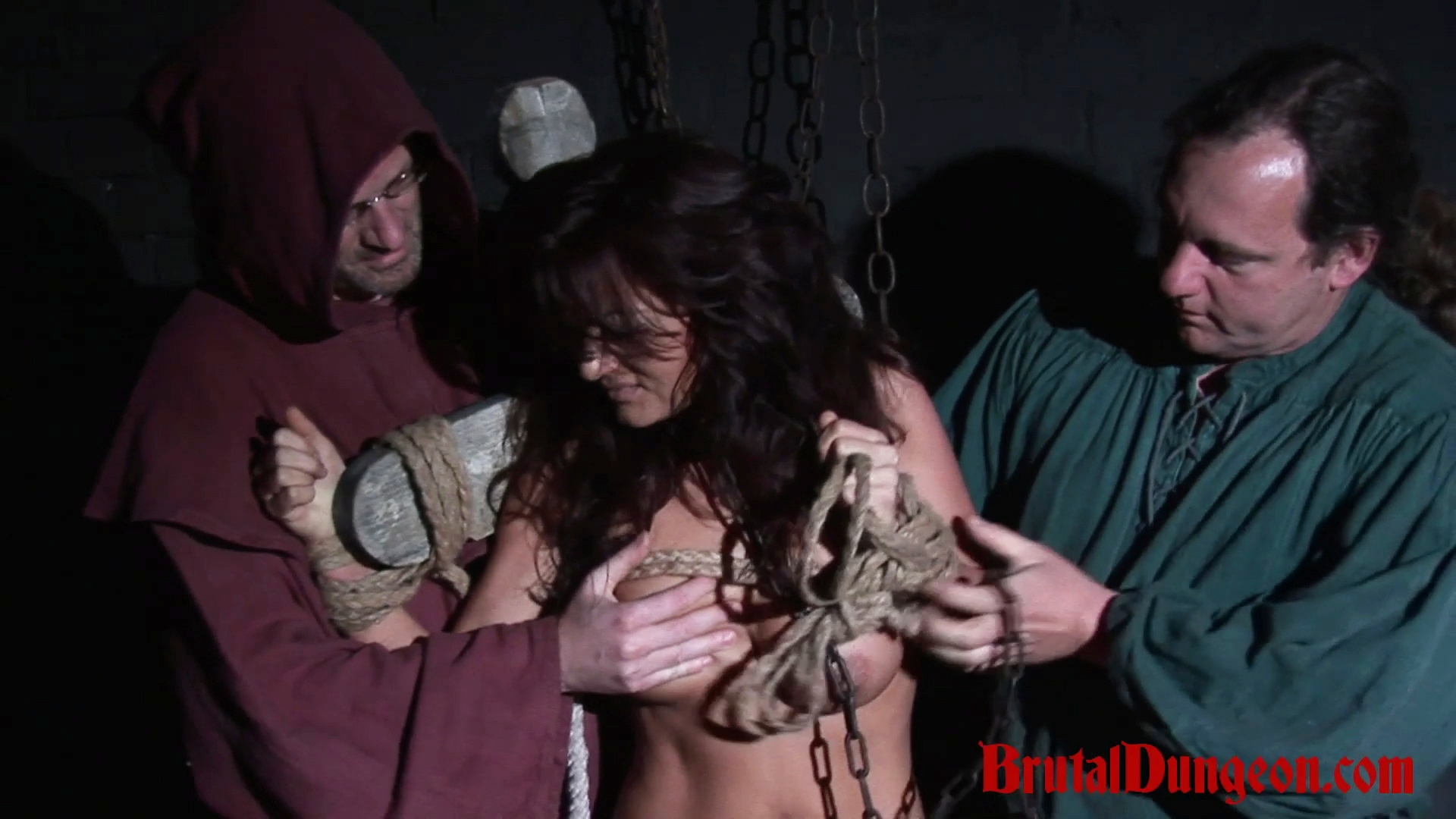 Brunette janessa thrown in prison and gangbanged. The tiny brunette witch Janessa has been observed doing strange magical spells in the forest. She's arrested and punished at once! She must endure imprisonment, rope bondage, domination, BDSM fun, gang bang, gagging, spanking, slapping, fingering, tit, nipple and kitty torment.