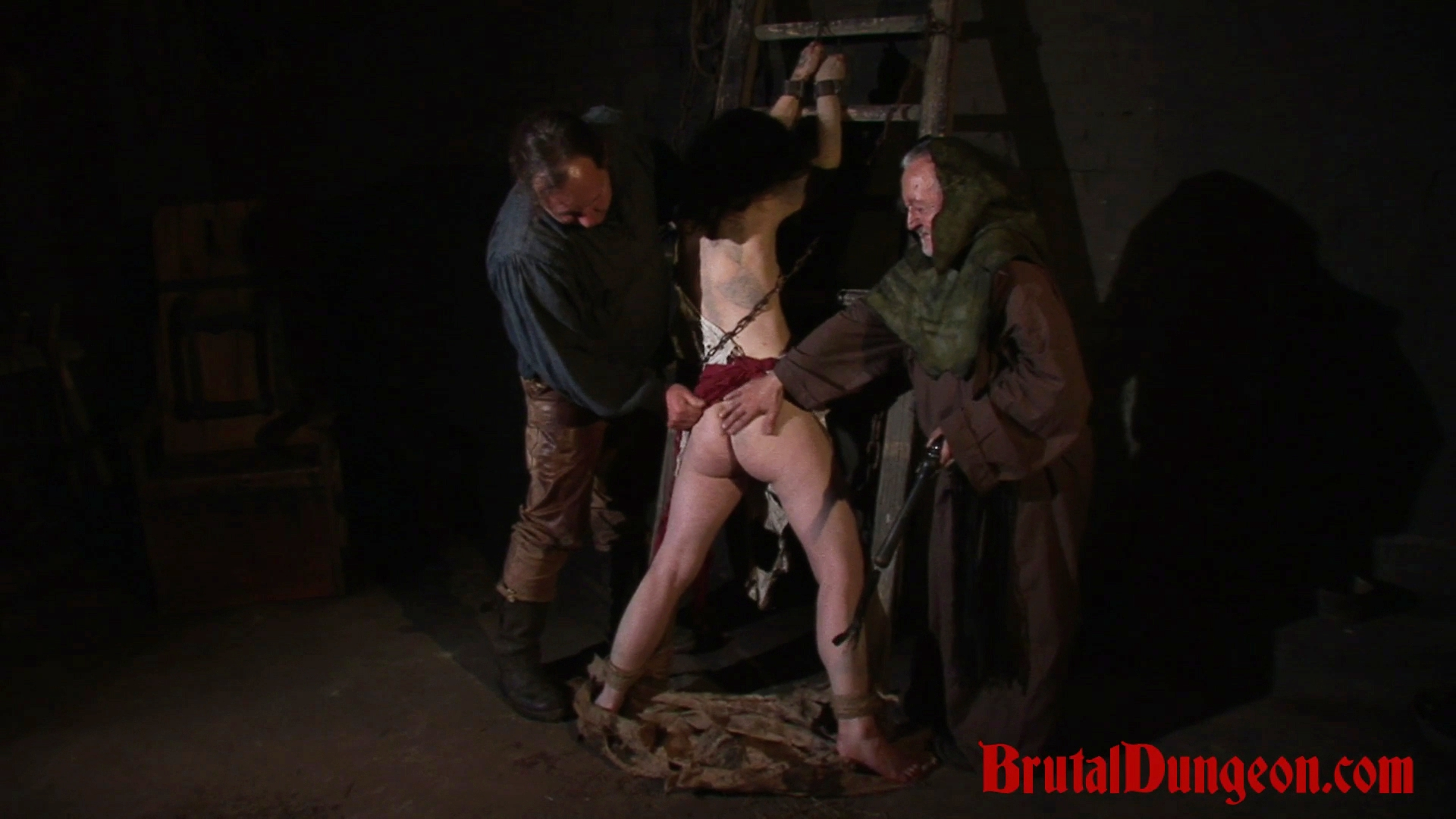 Brunette loredana is down in a dungeon where she only experiences bdsm gangbangs  brunette gypsy loredana has been arrested for suspicious activity in her apartment and punished in our dungeon every week  she will do anything to earn a pardon even endure . Brunette gypsy Loredana has been arrested for suspicious activity in her apartment and punished in our dungeon every week. She will do anything to earn a pardon, even endure imprisonment, bondage with leather cuffs and chains, domination, BDSM fun, gang bang, flogging, anus spanking, slapping, fingering, breast, nipple and pussy torment.