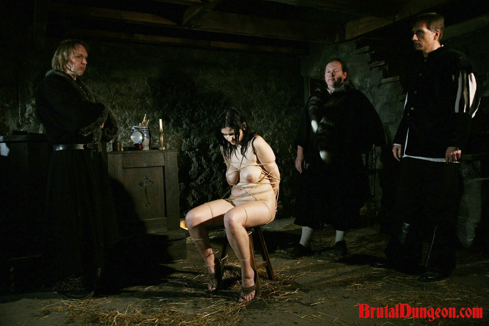 Brunette gypsy bdsm gang bang. Gypsy, a horny brunette fortune teller, will endure imprisonment, BDSM gang bang, domination, rope bondage and suspension, spanking, slapping, humiliation, fingering, breast, nipple and cunt tortured at the dungeon. It hasn't happened yet, so she masturbates and thinks about the punishment orgasm soon.