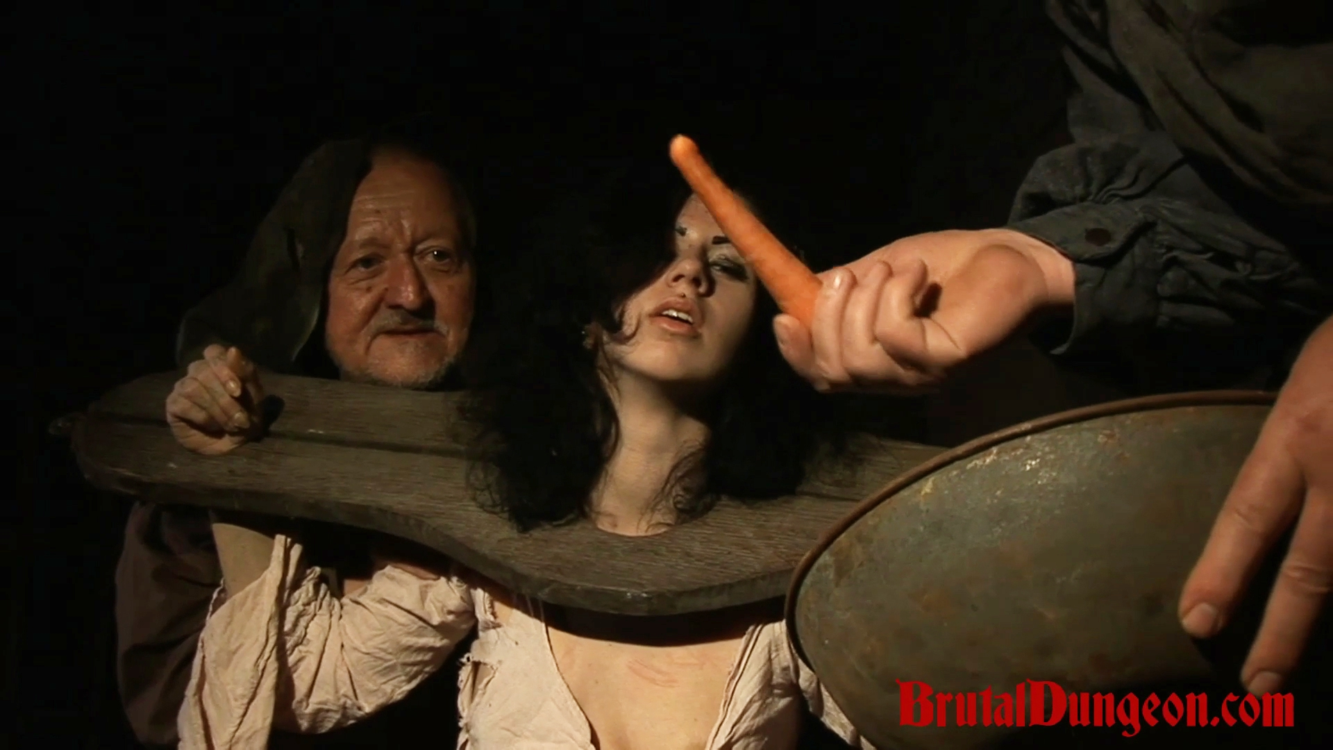 Brunette loredana imprisoned for bdsm gang bang  brunette wench loredana has been arrested and castigate in our dungeon  she s left without food and begs for a carrot  she will do anything to earn it even endure imprisonment an extreme bondage device domi. Brunette wench Loredana has been arrested and punish in our dungeon. She's left without food and begs for a carrot. She will do anything to earn it, even endure imprisonment, an extreme bondage device, domination, BDSM fun, gang bang, food play, vegetable penetration, spanking, slapping, fingering, tit, nipple and cunt torment.