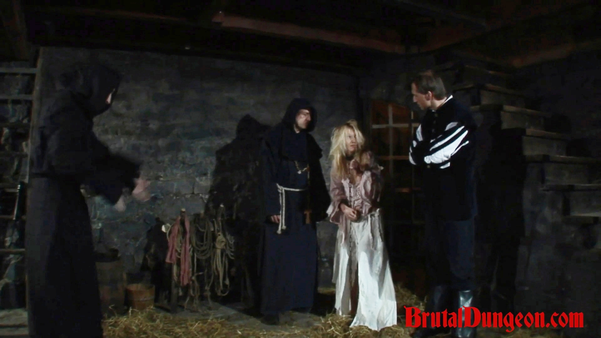 Blonde romina imprisoned bdsm gang bang  witch romina was caught practicing her craft by a neighbor  she s arrested and brought to our dungeon where everything is needed for proper and creative punishments  nice blonde romina must endure imprisonment bdsm. Witch Romina was caught practicing her craft by a neighbor. She's arrested and brought to our dungeon where everything is needed for proper and creative punishments. beautiful blonde Romina must endure imprisonment, BDSM gang bang, domination, rope bondage and suspension, spanking, slapping, fingering, flogging, breast, nipple and pussy torment.