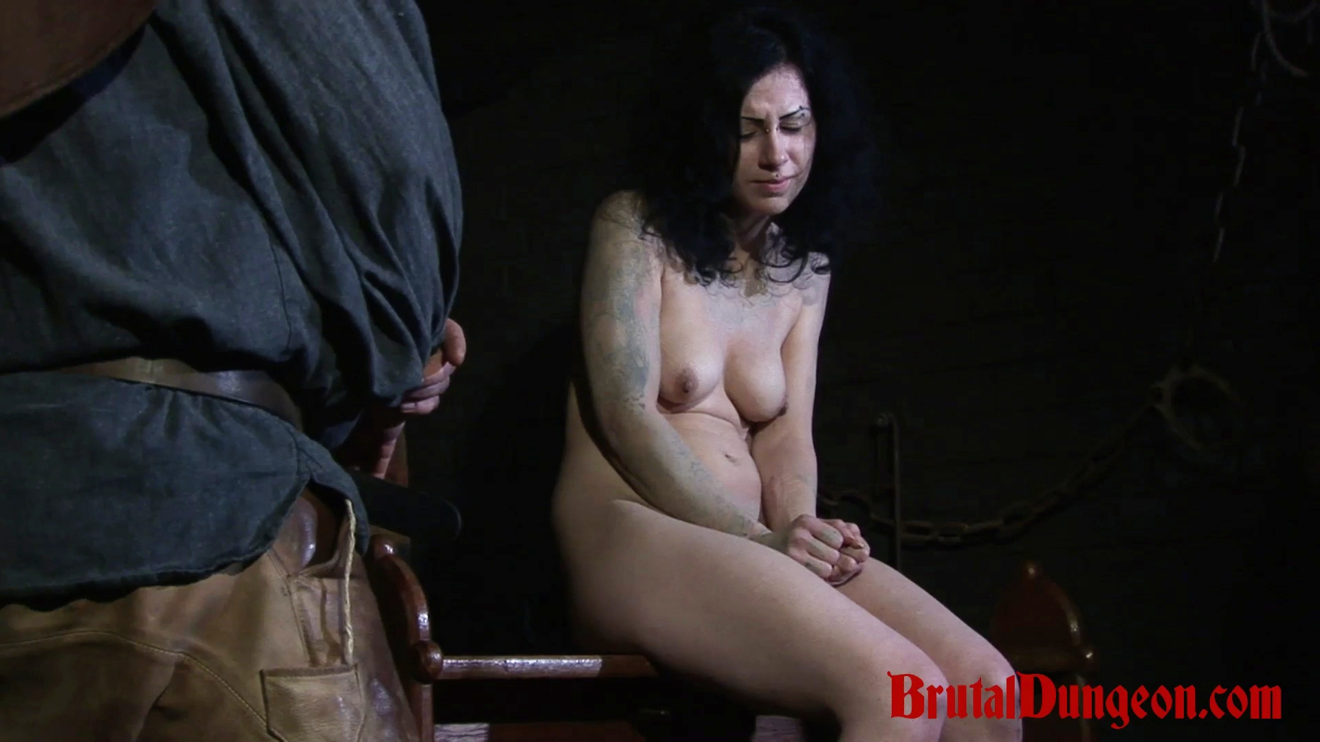 Brunette loredana bdsm gang bang. Brunette witch Loredana has been arrested and punish in our dungeon once a day. She begs for forgiveness and will do anything to earn freedom, even endure imprisonment, rope bondage, domination, BDSM fun, gang bang, clothespins play, weight hanging with a water pail, spanking, slapping, fingering, breast, nipple and pussy torment.