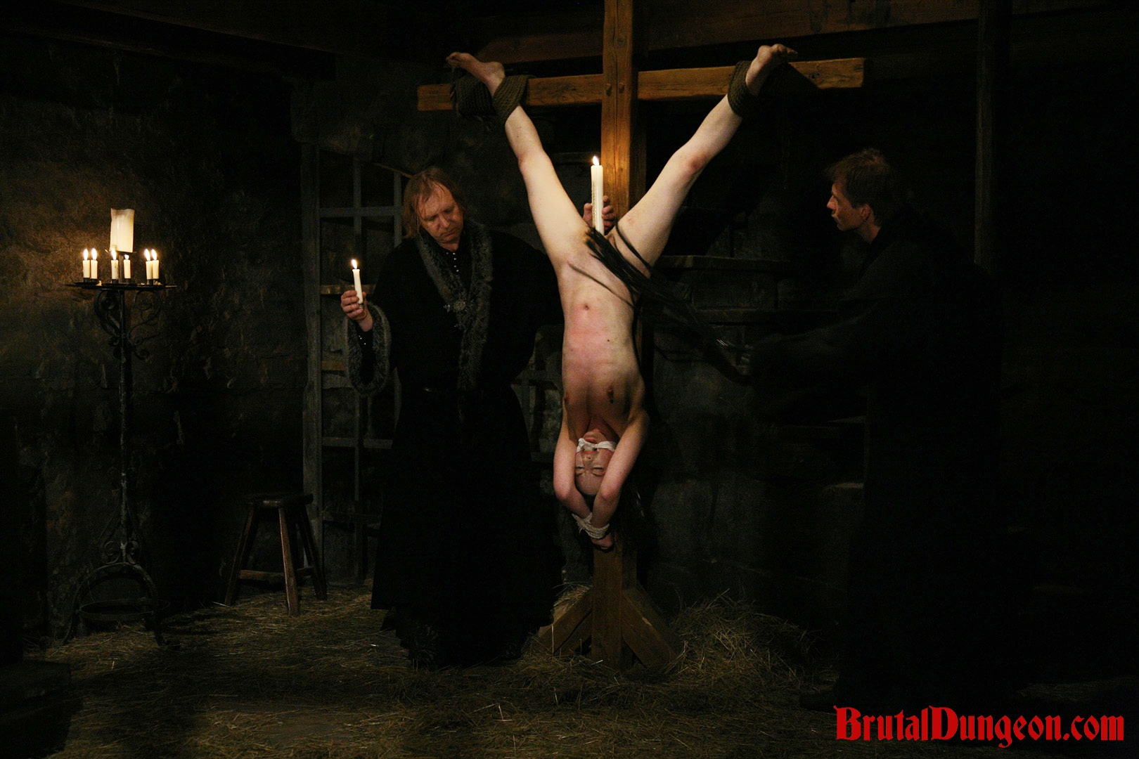 Brunette mathilda bdsm gang bang. Slim brunette Mathilda was arrested for witchcraft and prostitution. She must endure imprisonment, BDSM fun, gang bang, upside down suspension, spanking, slapping, fingering, breast, nipple and kitty tortured with candle wax.