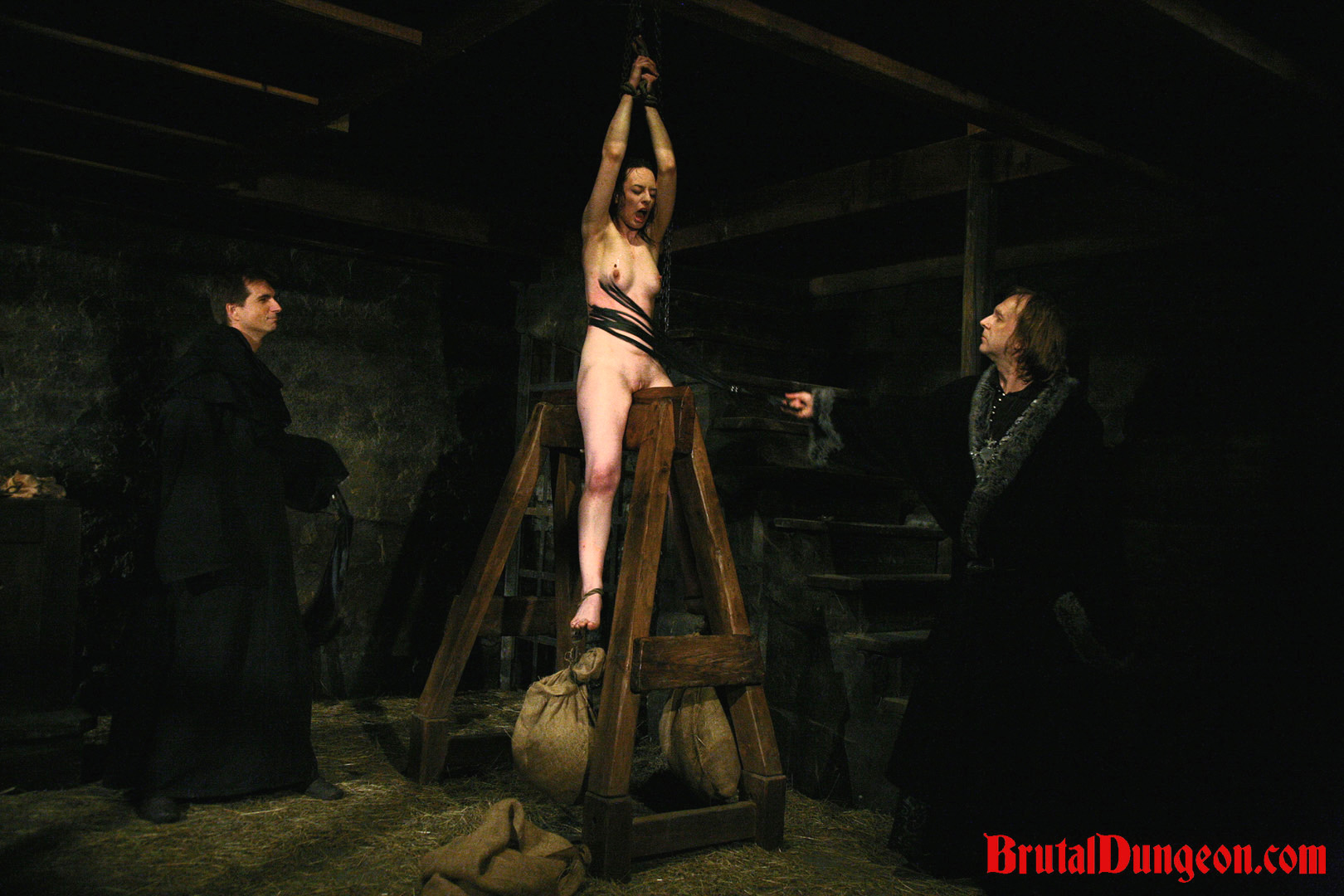 Brunette mathilda imprisoned bdsm gang bang. Pleasant brunette Mathilda is a sex addict and will have sex with anyone that wants a taste. She must be stopped and arrested. Mathilda must endure imprisonment, BDSM gang bang, domination, rope bondage and suspension, spanking, slapping, humiliation, fingering, deepthroat blowjob, breast, nipple and cunt torment with an interesting device and weights.