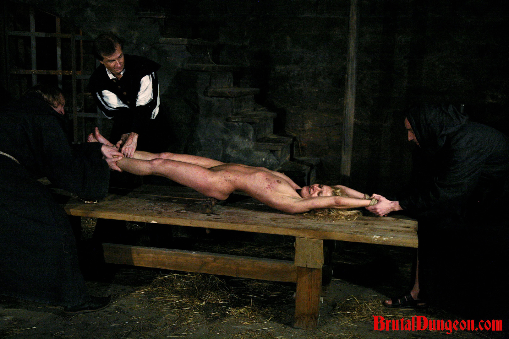 Blonde romina for bdsm gang bang. Blonde Sorceress Romina was caught conjuring spirits with her coven. Romina must endure imprisonment, BDSM gang bang, domination, bondage and suspension, spanking, slapping, fingering, breast, nipple and cunt tormented with a bondage table and spiked roller.