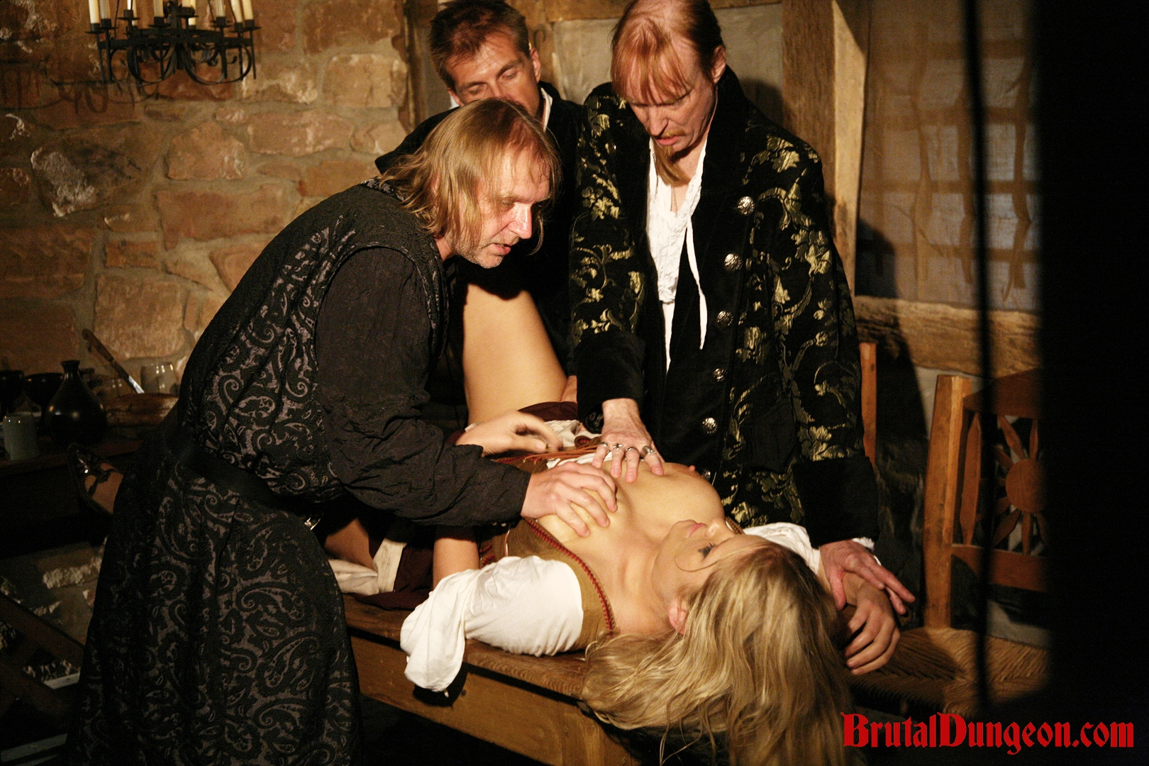Blonde magda imprisoned bdsm gang bang  magda is a blonde barmaid who also offers sexual services to some of her guests for money  she is doing obscene witchcraft to make those men willing  she s arrested and punish in the bar  she must endure imprisonmen. Magda is a blonde barmaid who also offers sexual services to some of her guests for money. She is doing obscene witchcraft to make those men willing. She's arrested and punished in the bar. She must endure imprisonment, BDSM fun, gang bang, water play, spanking, slapping, fingering, breast, nipple and cunt torment. She actually likes it. Her attitude will certainly change when she's brought into the dungeon.