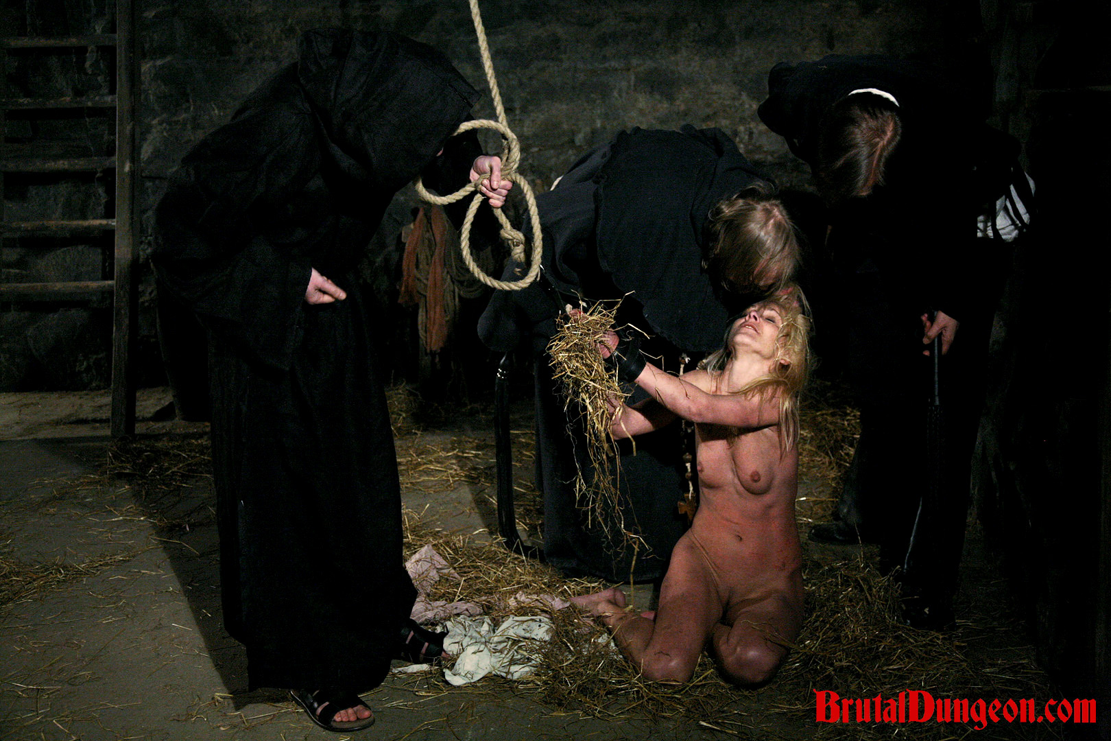 Blonde magda imprisoned for b d s m gang bang. Witch Romina was caught practicing her craft by a neighbor. She's arrested and brought to our dungeon where our guards enjoy their jobs. good blonde Romina must endure imprisonment, BDSM gang bang, domination, rope bondage and suspension, spanking, slapping, fingering, flogging, breast, nipple and pussy torment.