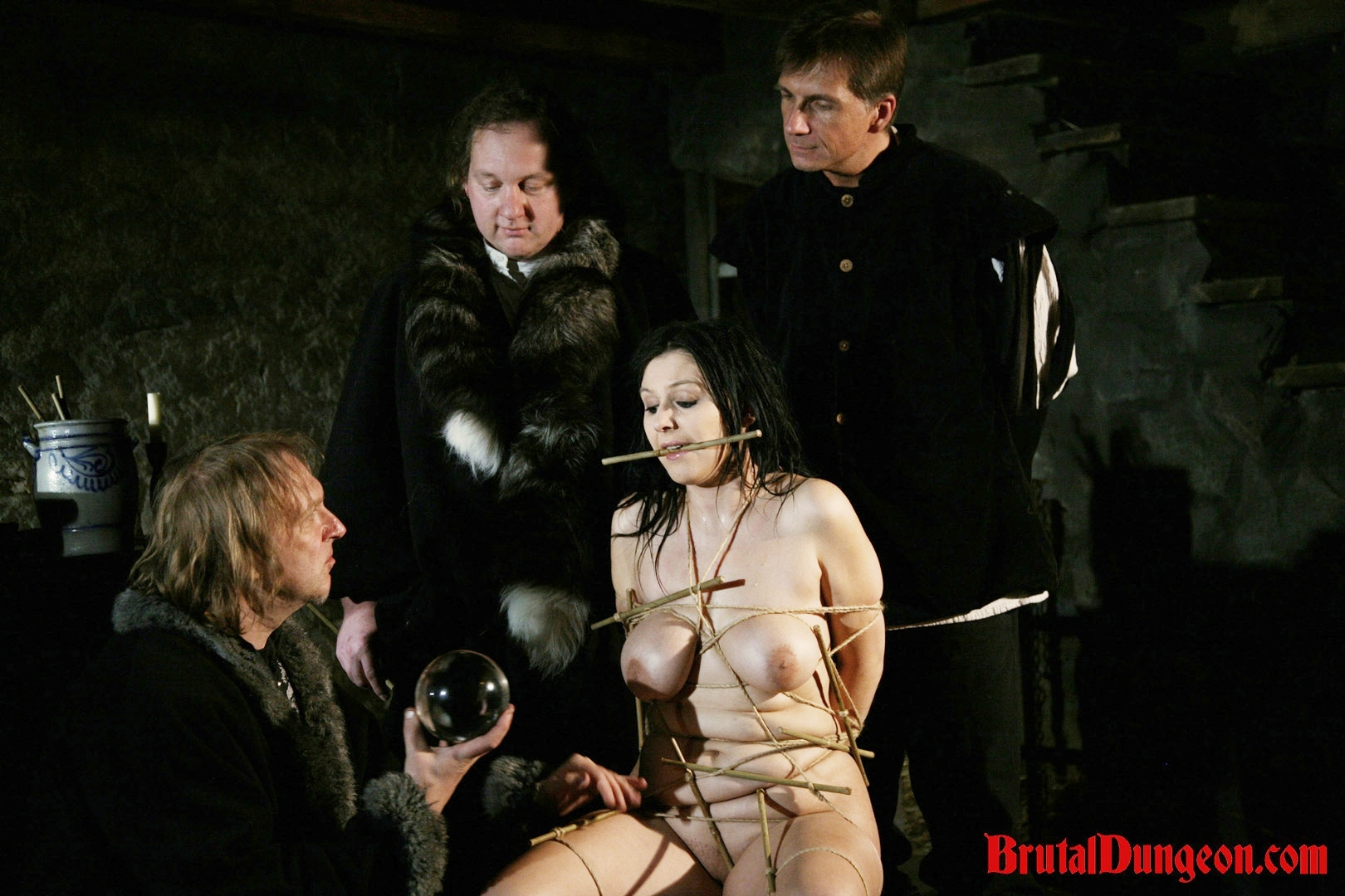 Brunette gypsy imprisoned bdsm gang bang. Gypsy, a excited brunette fortune teller, will endure imprisonment, BDSM gang bang, domination, rope bondage and suspension, spanking, slapping, humiliation, fingering, breast, nipple and kitty tortured at the dungeon. It hasn't happened yet, so she masturbates and thinks about the punishment orgasm soon.