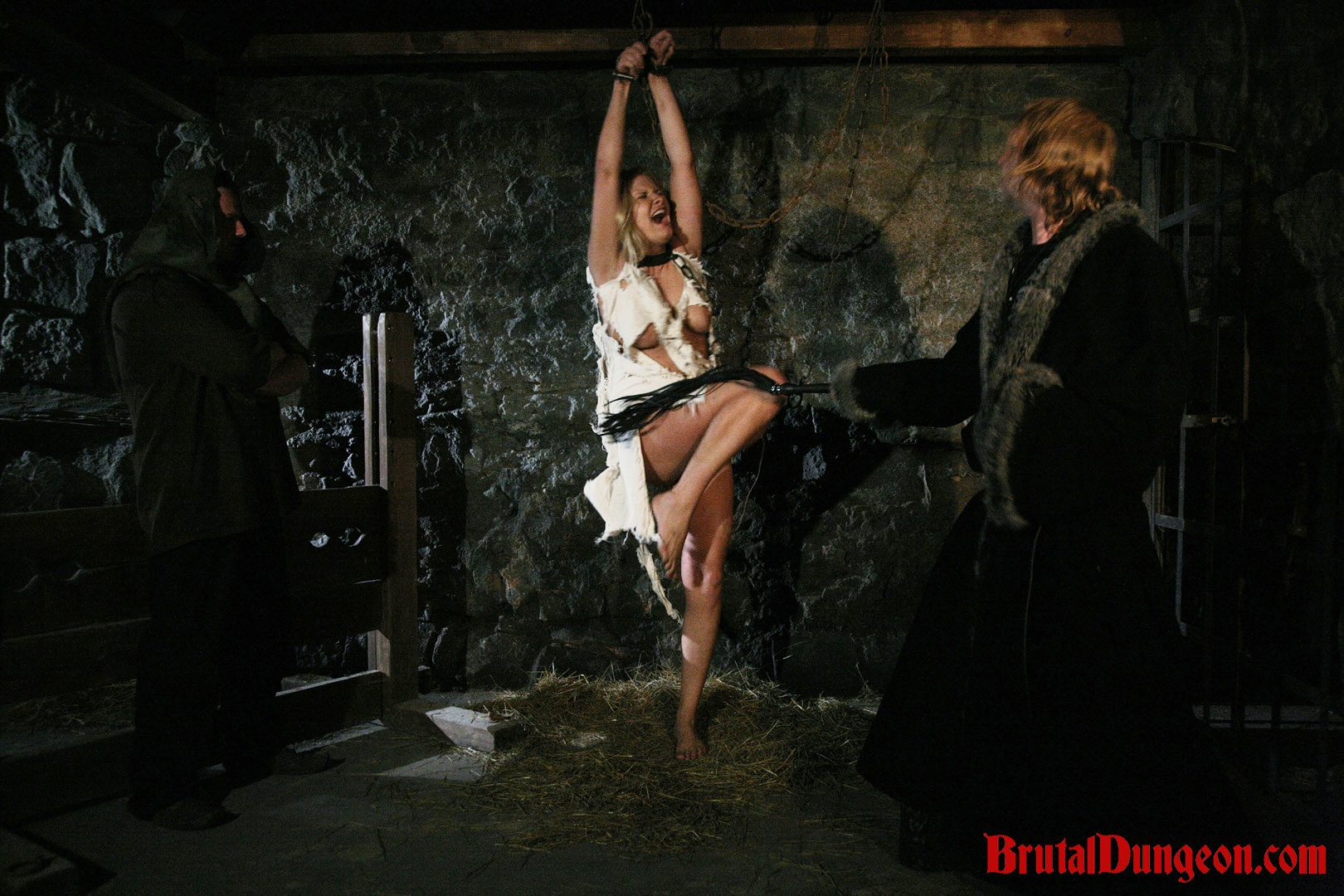 Blonde magda imprisoned bdsm gangbang. Hot blonde Magda has been arrested and punished once a day for prostitution. She didn't care if her customers were married or important people in town. In our dungeon, she must endure imprisonment, BDSM fun, bondage with leather and chains, gang bang, flogging, spanking, slapping, fingering, breast, nipple and cunt torment. She begs for forgiveness!