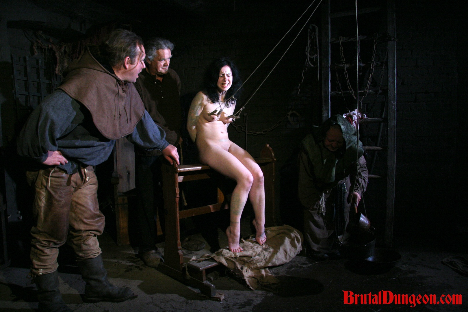 Brunette loredana bdsm gangbang. Brunette witch Loredana has been arrested and punished in our dungeon once a day. She begs for forgiveness and will do anything to earn freedom, even endure imprisonment, rope bondage, domination, BDSM fun, gang bang, clothespins play, weight hanging with a water pail, spanking, slapping, fingering, breast, nipple and pussy torment.