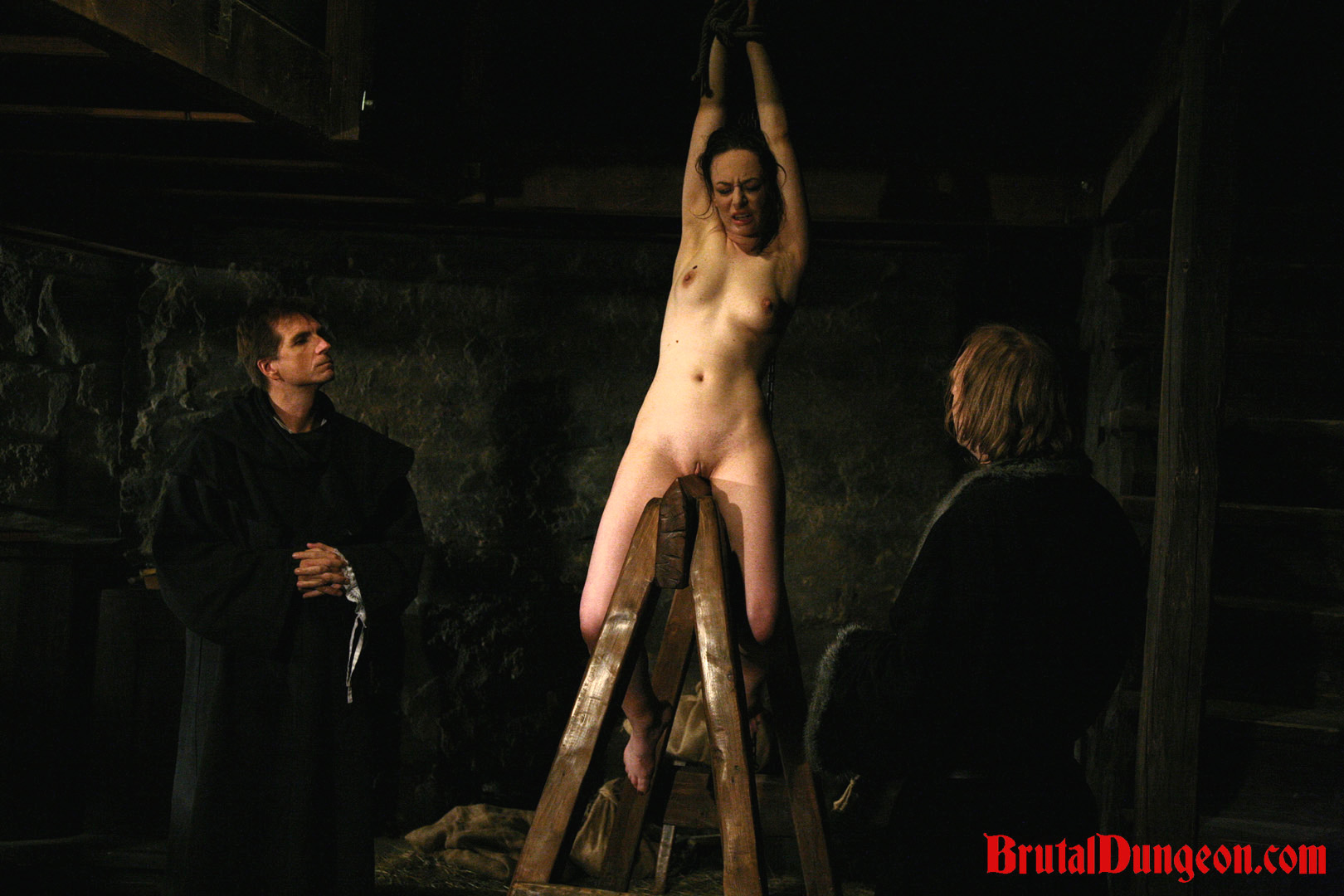 Brunette mathilda bondage gang bang. Good brunette Mathilda picked the wrong home to invade and steal from. It belongs to a dungeon Master. She endure imprisonment, BDSM gang bang, domination, rope bondage and suspension, spanking, slapping, humiliation, fingering, breast, nipple and pussy tormented with an interesting device and weights.